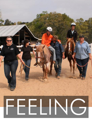 Riding lessons are enjoyed by participants and volunteers.